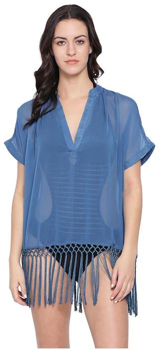 Oxolloxo Women Polyester Solid Kaftan - Blue
