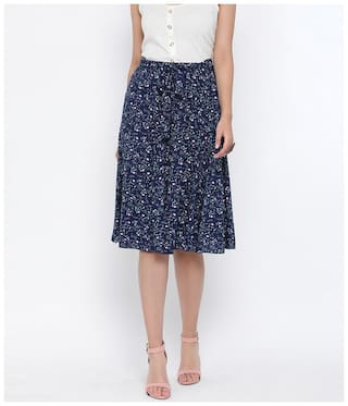 Oxolloxo Women Viscose Rayon Printed Navy Blue A-line Skirt
