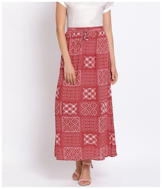 Oxolloxo Printed A-line skirt Maxi Skirt - Red