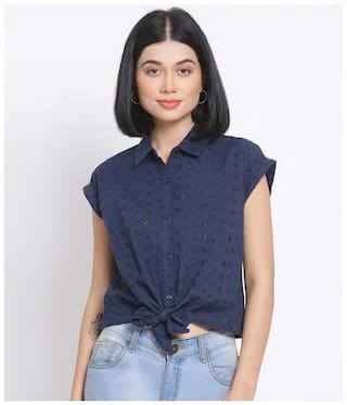 Oxolloxo Women Navy Blue Embroidered Regular Fit Shirt