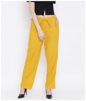 Oxolloxo Women Viscose Rayon Printed Yellow Pant