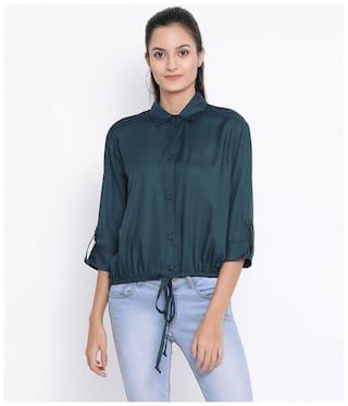 Oxolloxo Women Navy Blue Solid Regular Fit Shirt