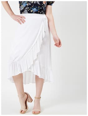 OXOLLOXO Solid A-line Skirt Midi Skirt - White