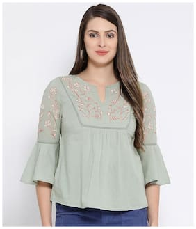 Oxolloxo Women Embroidered A-line top - Green