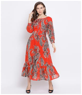 Oxolloxo Women Polyester Floral Orange A Line Dress