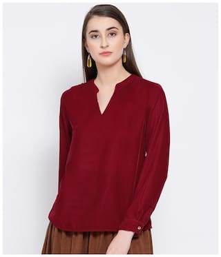 Oxolloxo Women Solid A-line top - Maroon