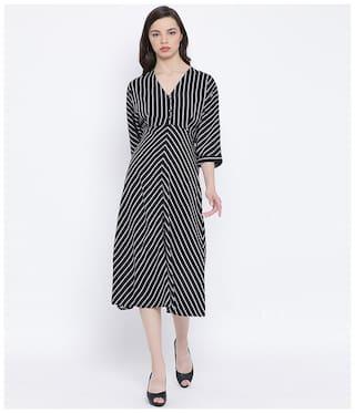 Oxolloxo Black Striped Wrap dress