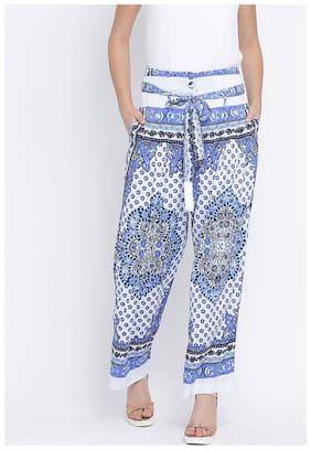OXOLLOXO Women Regular fit Mid rise Printed Regular pants - Blue & White