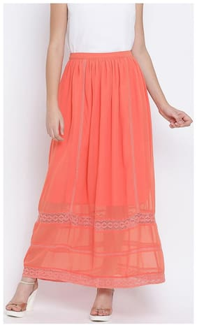 OXOLLOXO Solid A-line skirt Maxi Skirt - Pink