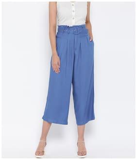 Oxolloxo Women Viscose Rayon Solid Blue Pant