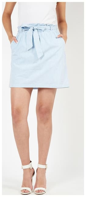 OXOLLOXO Striped A-line skirt Midi Skirt - Blue