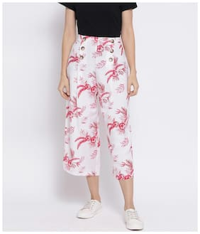 Oxolloxo Women White & Red Flared fit Cullotes