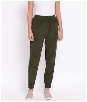 OXOLLOXO Women Regular fit Cotton Solid Track pants - Green