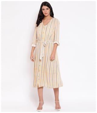 Oxolloxo Yellow Striped Shirt dress