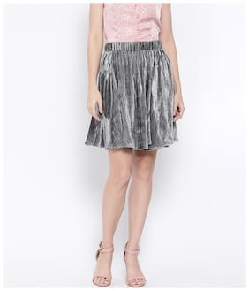 Oxolloxo Solid A-line skirt Mini Skirt - Grey