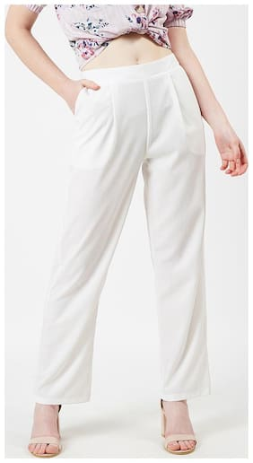 OXOLLOXO Women Regular fit Mid rise Solid Regular trousers - White