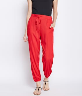 OXOLLOXO Women Regular Fit Mid Rise Solid Pants - Red