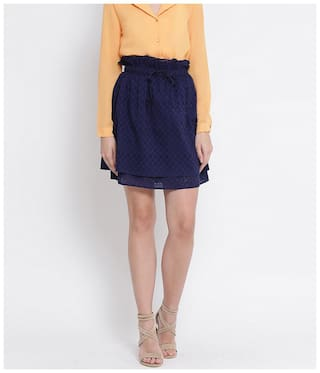 Oxolloxo Women Cotton Solid Navy Blue A-line Skirt