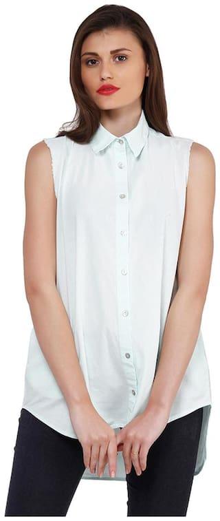 Oxolloxo Women White Solid Regular Fit Shirt