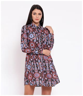 Oxolloxo Purple Abstract A-line dress
