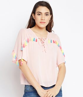 OXOLLOXO Women Polyester Printed - A-line Top Pink