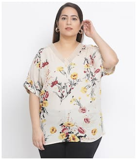 Women Floral V Neck Top