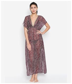 Oxolloxo Women Polyester Printed Cover up - Maroon
