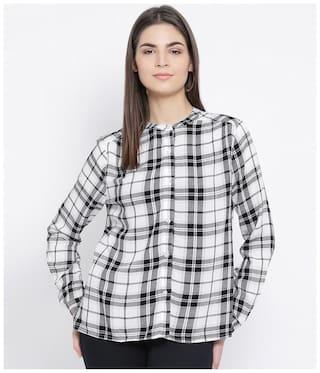 Oxolloxo Women White & Black Checked Regular Fit Shirt