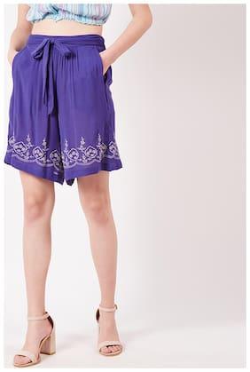 OXOLLOXO Women Printed Regular capri - Purple