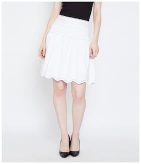 Oxolloxo Solid A-line skirt Mini Skirt - White