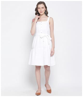 Oxolloxo Women White Cotton Solid A Line Dress