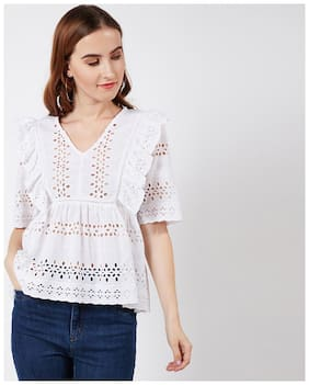 OXOLLOXO Women Cotton Solid - A-line Top White