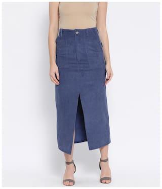 Oxolloxo Solid A-line skirt Midi Skirt - Blue