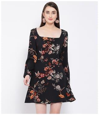 Oxolloxo Black Floral A-line dress