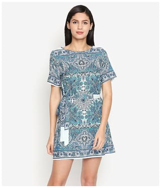 Oxolloxo Women Polyester Abstract Multi A Line Dress