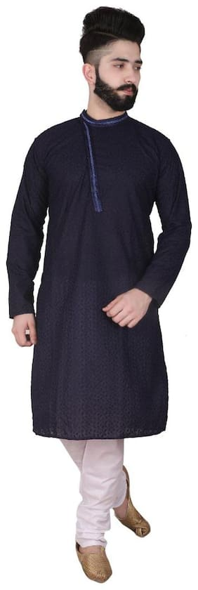 P.K.GARMENTS Men Cotton Solid Kurta Pajama  Navy Blue