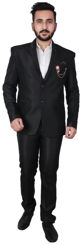 P.K.GARMENTS Blended Black Solid Blazer and Trouser  For Men