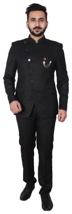 P.K.GARMENTS Blended Medium Sherwani - Black