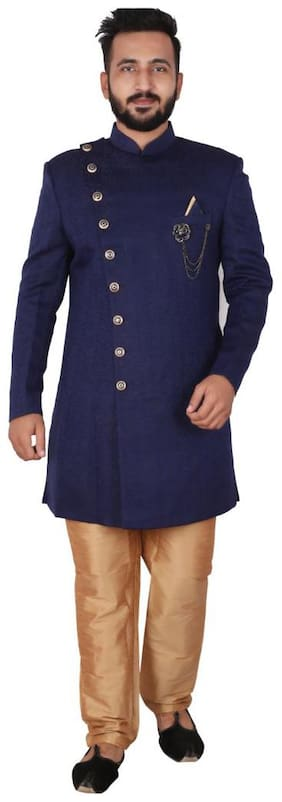 P.K.GARMENTS Blended Medium Sherwani - Blue & Gold