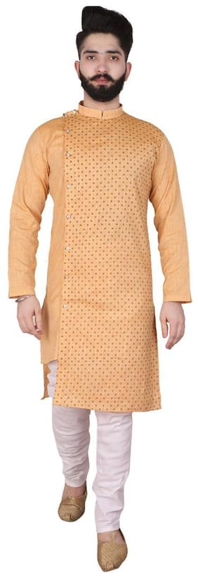 P.K.GARMENTS Brown Printed Kurta and Churidar