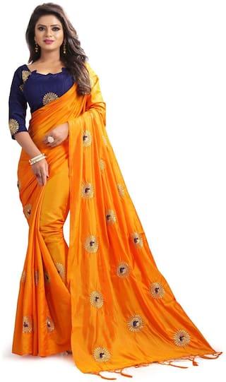 PACHIBA ENTERPRISE Silk  Embroidered Work Regular Saree Orange