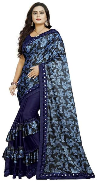 Pachiba Enterprise Women Ruffle Lycra Saree With Blouse Piece (Blue)