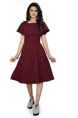 PACHIBA ENTERPRISE Maroon Solid Fit & flare dress