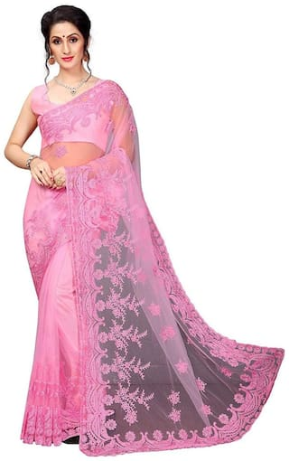 PACHIBA ENTERPRISE Women Net Embroidered Saree  Pink