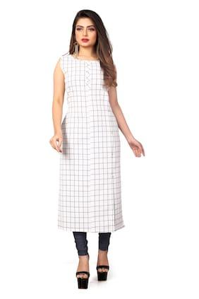 Women Checkered Straight Kurti