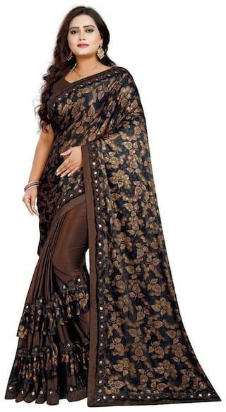 Pachiba Enterprise Women Ruffle Lycra Saree With Blouse Piece (Brown)
