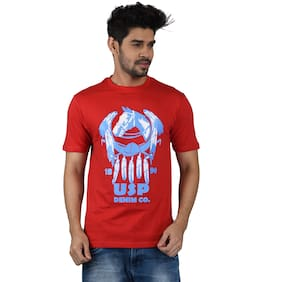 Pacific Wear Men Red Regular fit Cotton Round neck T-Shirt - Pack Of 1