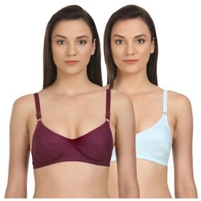 Pack of 2 Bodycare Perfect Coverage Bras in Dark Magenta & Turquoise colour