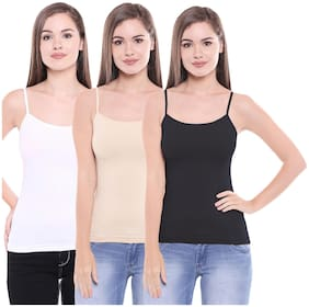 Pack of 3 Regular U Neck Camisole in Black-Skin & White Colour By Bodycare