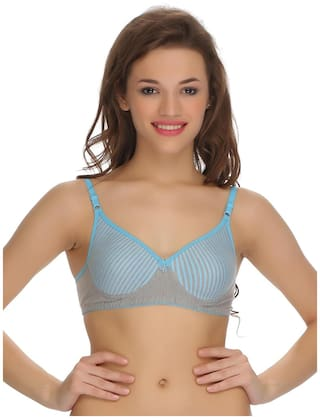 Padded Non-wired Tshirt Bra In Blue Melange